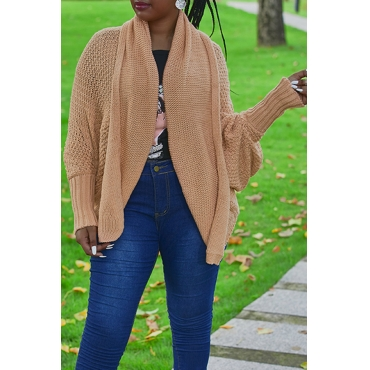 Lovely Trendy Batwing Sleeves Army Pink Acrylic Cardigans
