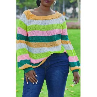 Lovely Leisure Striped Orange Sweater