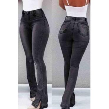 Lovely Trendy Skinny Slit Black Jeans