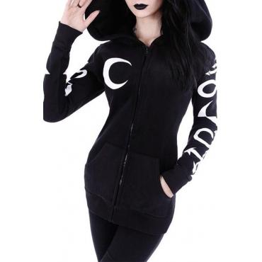 Lovely Party Hooded Collar Printed Black Hoodie