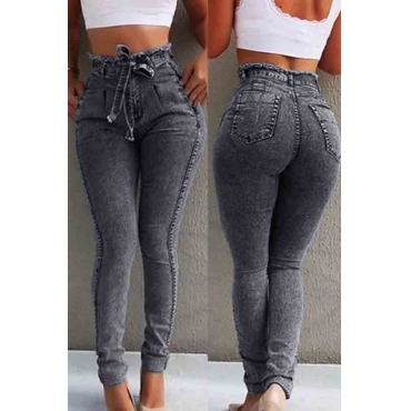 Lovely Casual Lace-up Black Jeans