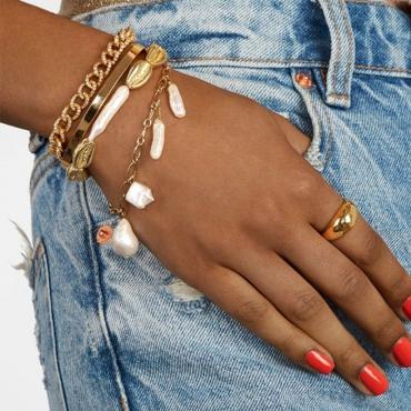 Lovely Trendy Patchwork Gold Bracelet