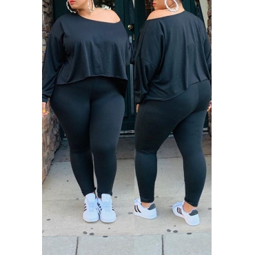 Lovely Casual O Neck Asymmetrical Black Plus Size Two-Piece Pants Set
