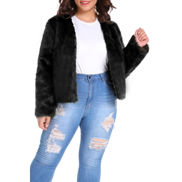 Lovely Casual Black Plus Size Coat