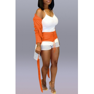 Lovely Casual Patchwork Jacinth Two-piece Shorts Set