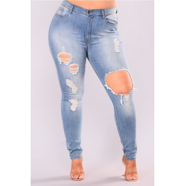 Lovely Casual Hollow-out Baby Blue Plus Size Jeans