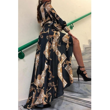 Lovely Chic Turndown Collar Asymmetrical Printed Black Floor Length Dress
