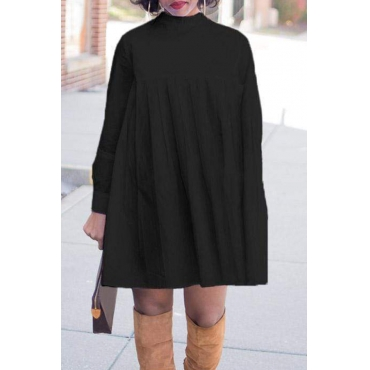 Lovely Trendy Turtleneck Black Mini T-shirt Dress