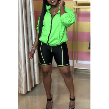 Lovely Casual Mandarin Collar Patchwork Green Two-piece Shorts Set