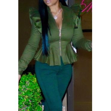 Lovely Casual Flounce Design Green Coat