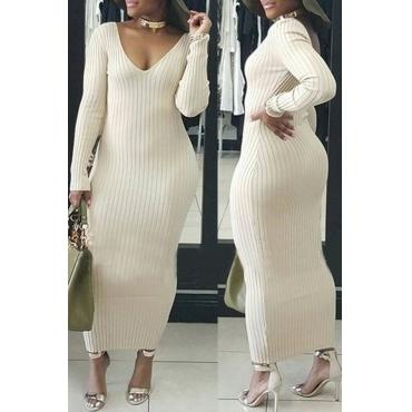 Lovely Casual V Neck Beige Ankle Length Dress