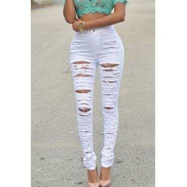 Lovely Leisure Broken Holes White Jeans
