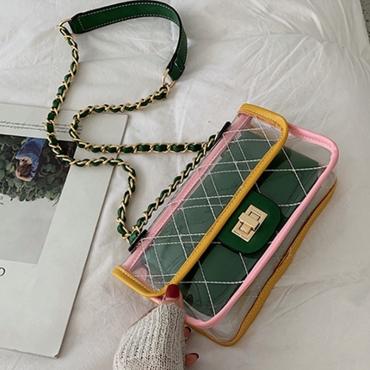 Lovely Trendy See-through Green PVC Messenger Bag