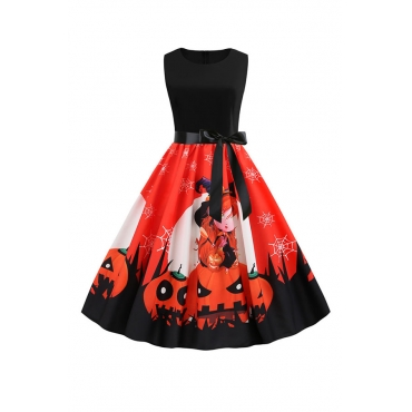 Lovely Hallowmas Printed Red  Dress