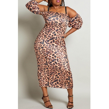 Lovely Chic Leopard Printed Hollow-out Multicolor Mid Calf Plus Size Dress
