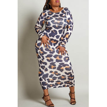 Lovely Chic Leopard Printed Ankle Length Plus Size Dress