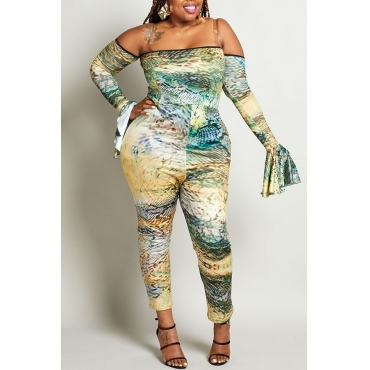 Lovely Trendy Flounce Design Multicolor Plus Size One-piece Jumpsuit
