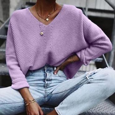 Lovely Leisure V Neck Purple Sweater