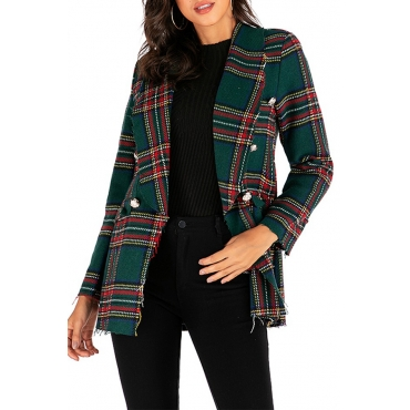 Lovely Casual Grid Printed Green Blazer