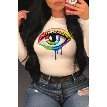 Lovely Casual Eye Printed White T-shirt
