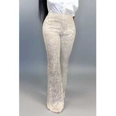 Lovely Casual Sequined Silver Pants