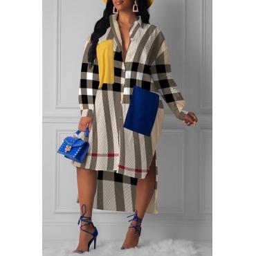 Lovely Trendy Turndown Collar Striped Printed Brown Mid Calf Dress