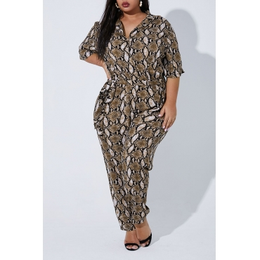 Lovely Casual Snakeskin Printed Plus Size One-piece Jumpsuit