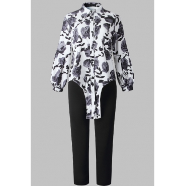 Lovely Casual Floral Printed Black Plus Size Two-piece Pants Set