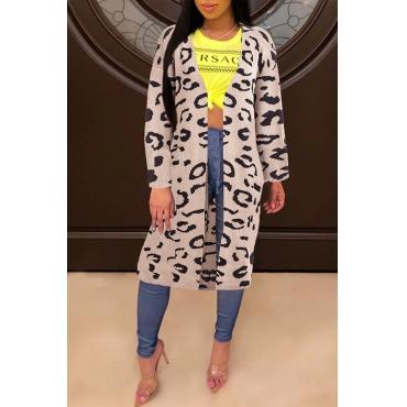 Lovely Trendy Leopard Printed Khaki Cardigans
