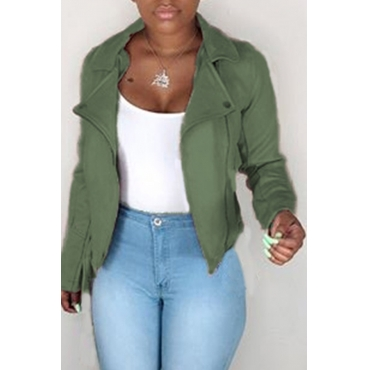 Lovely Casual Zipper Design Army Green Jacket