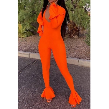 Lovely Casual Flounce Design Orange One-piece Jumpsuit