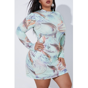 Lovely Casual Half A Turtleneck Printed Multicolor Plus Size Mini Dress