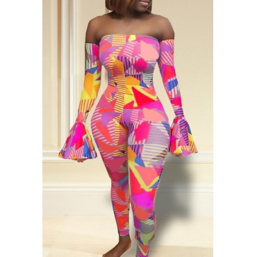 Lovely Casual Dew Shoulder Printed Pink One-piece Jumpsuit