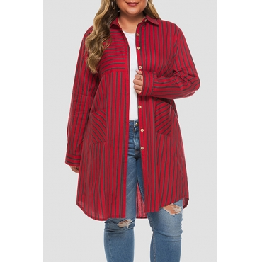 Lovely Casual Striped Red Plus Size Coat