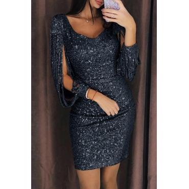 Lovely Party Tassel Design Black Mini Prom Dress