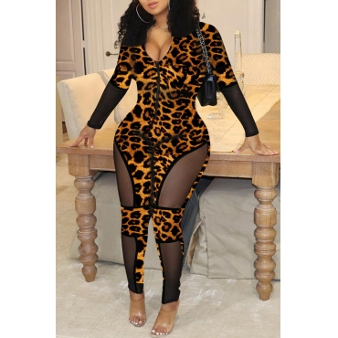 Lovely Chic Patchwork Leopard Printed One-piece Jumpsuit