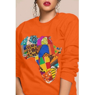 Lovely Casual Printed Orange Sweatshirt Hoodie