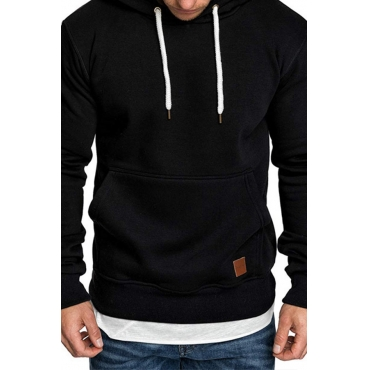 Lovely Casual Hooded Collar Pocket Patched Black Hoodie