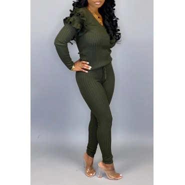 Lovely Casual Flounce Design Army Green Two-piece Pants Set