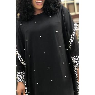 Lovely Casual Nail Bead Design Black Floor Length Plus Size Dress