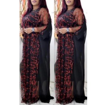 Lovely Casual Sequined Wine Red Plus Size Two-piece Skirt Set