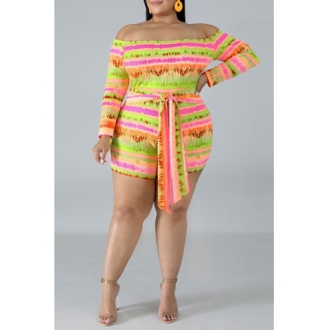 Lovely Casual Striped Printed Multicolor Plus Size One-piece Romper