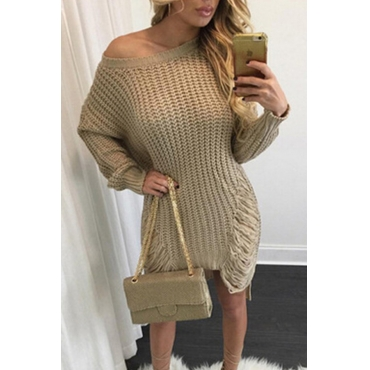 Lovely Trendy Asymmetrical Broken Holes Khaki Mini Dress