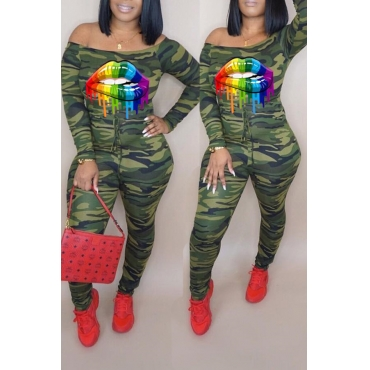 Lovely Trendy Camouflage Printed Army Green One-piece Jumpsuit