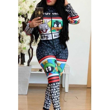 Lovely Trendy Printed Black One-piece Jumpsuit