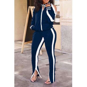 Lovely Casual Patchwork Blackish Deep Blue Two-piece Pants Set