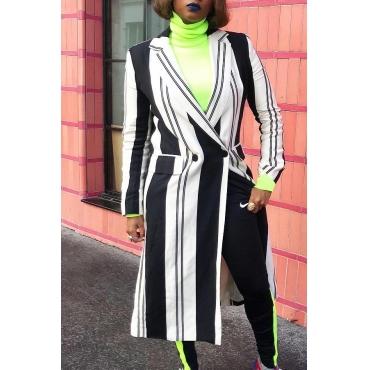 Lovely Trendy Striped Long Black Coat