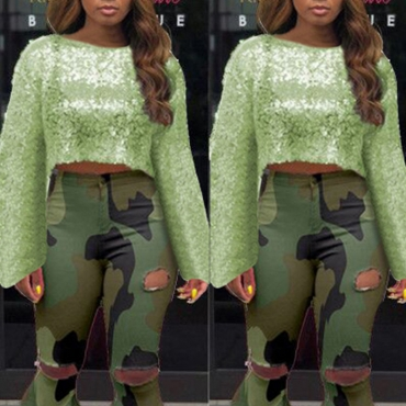 Lovely Trendy Sequined Green Blouse