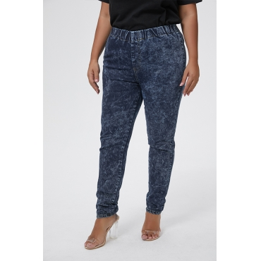 Lovely Casual Skinny Deep Blue Plus Size Jeans