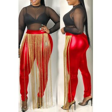 Lovely Casual Tassel Design Red  Pants